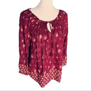 Lucky Brand NWOT Berry Floral Tie Neck Blouse Top
